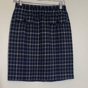 Banana Republic Navy Plaid Wool Mini Skirt Sz 6